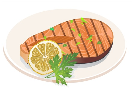 Appetizing salmon steak with lemon slice  Vector
