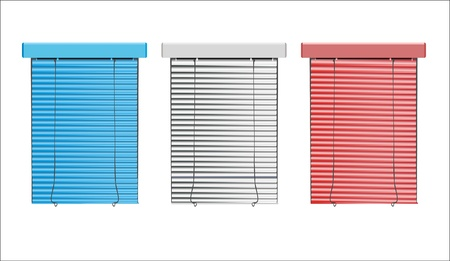 window curtains: vector colored blinds isolated on white