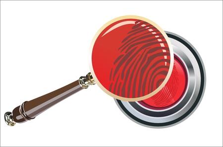 fingerprint on metal red button vector illustration Stock Vector - 16563540