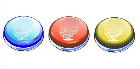Vector of a finger print on button vector illustration Stock Vector - 16563543