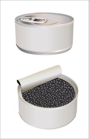Geopend en gesloten metalen blikje voor zwarte kaviaar