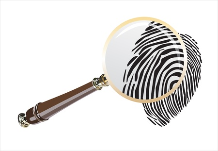 inquest: fingerprint through magnifying glass Illustration