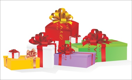 pretty s shiny: illustration of colorful gift box on white background