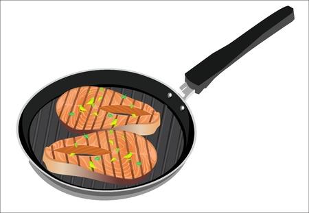 salmon steak in the frypan Vector