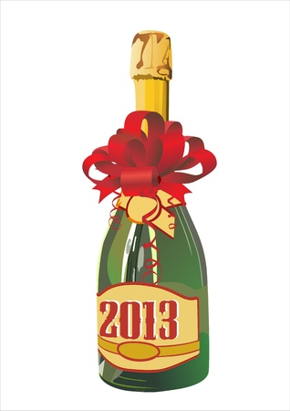 year s: An unopened bottle of champagne stands on a white background  Illustration
