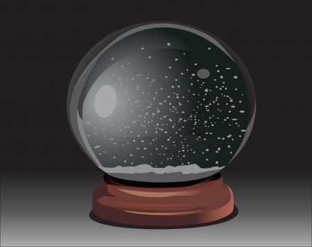 empty snow dome over black background Vector