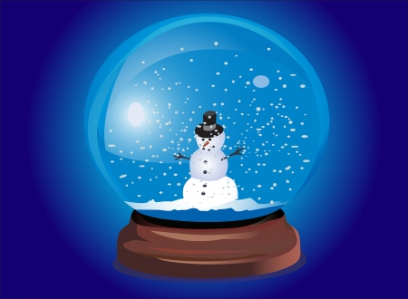 snow dome with snowmen Vector