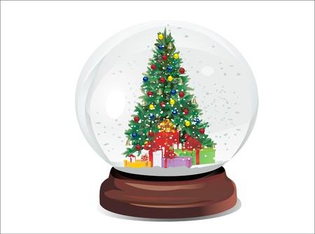 Snow globe with christmas tree Vector