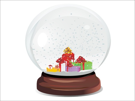 snow dome filed with presents and snowflakes over white background Illustration
