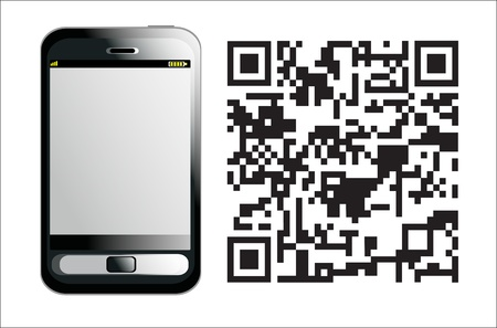 up code: Modern Mobile phone with QR Code on a white background