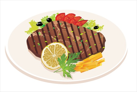 cooked meat: Grilled steak, French fries and vegetables Illustration