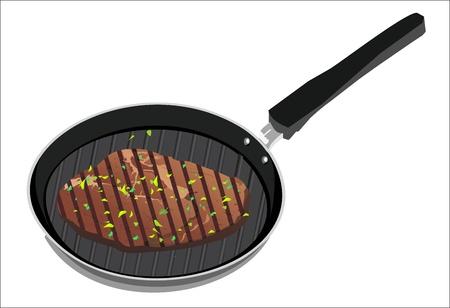 gusseisen: Tasty Beefsteak Grillen in einem gusseisernen gerippte Pfanne