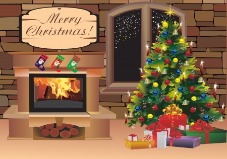Christmas scene with tree gifts and fire in background Vector