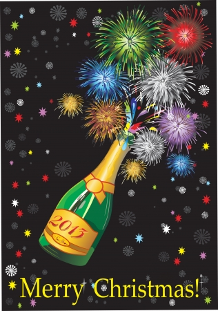 Beautiful uncorked champagne bottle fireworks, on a black background. Stock Vector - 16749650