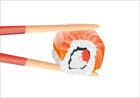 Sushi with chopsticks on a white Stock Vector - 16749329