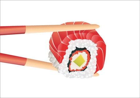 Sushi with chopsticks on a white Stock Vector - 16749552