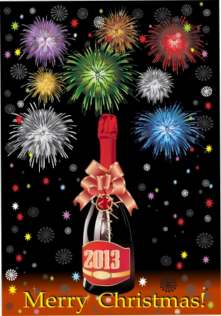 popping cork: Beautiful Bottle of Champagne in 2013 and fireworks, on a black background. Illustration