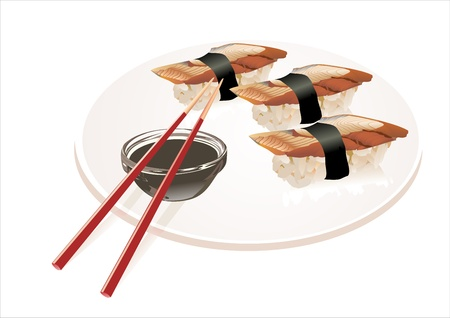 eel: Sashimi Sushi with eel and sauce