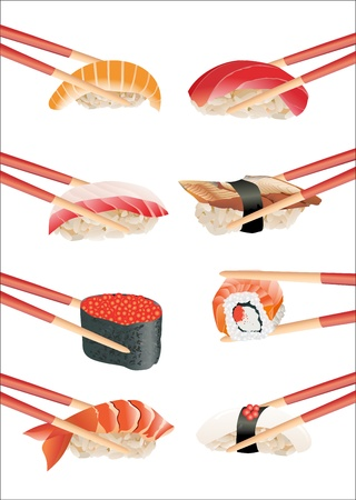 salmon dinner: Sushi with chopsticks isolated over white background