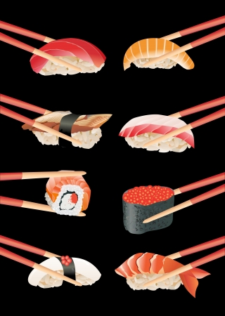 salmon dinner: Sushi with chopsticks isolated over black background