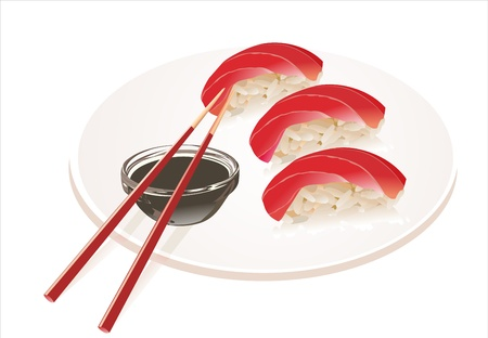 Tuna Sushi with chopsticks isolated on white background Stock Vector - 16749598