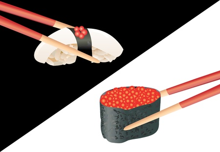 Sushi with chopsticks isolated over white and black background Stock Vector - 16749563