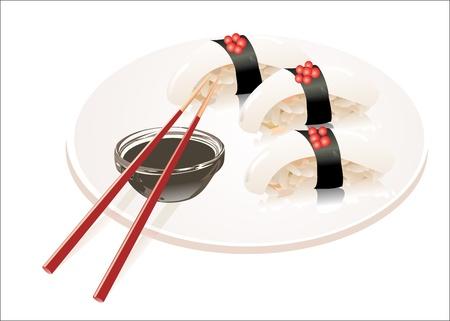 susi: sushi hotate with slice of scallop isolated on white background Illustration
