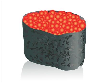 reis gekocht: offene Sushi mit Kaviar