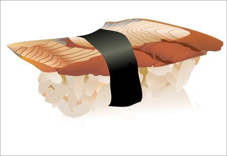 reis gekocht: Eel sushi �ber wei�e isoliert Illustration