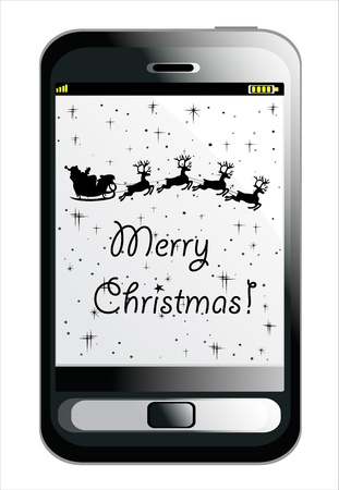Mobile Smartphone with Christmas background, Santa Claus driving in a sledge Stock Vector - 16749592