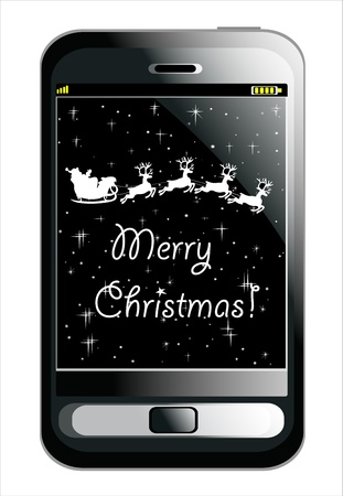 Mobile Smartphone with Christmas background, Santa Claus driving in a sledge Stock Vector - 16749594