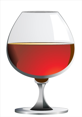 cognac: glass of cognac or brandy isolated on white background