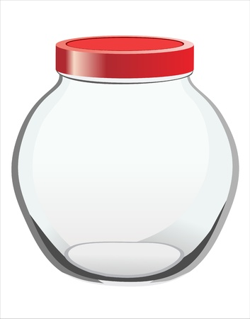 Empty glass jar with red cover isolated on white background Illustration