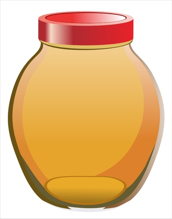 Sweet honey in jar isolated on white Vector