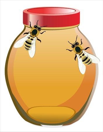 pot miel: abeilles dans le pot de miel