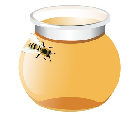 sweetener: glass pot full of honey and bee isolated on white background Illustration