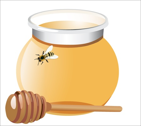 Honey with wood stick and bee, isolated on white background Stock Vector - 17207283