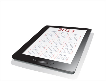 Black tablet pc on white background WIth calendar 2013. Vector