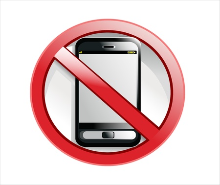 cell phones not allowed: No cell phone sign illustration design isolated over a white background