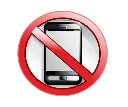 no cell: No hay tel�fono celular signo ilustraci�n dise�o aislado sobre un fondo blanco