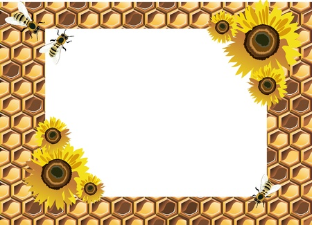 Background with bees, and honeycomb Vector