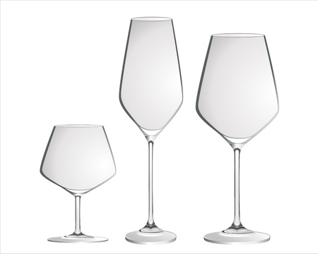 collins: Cocktail Glass Collection - Most popular cocktail and wine glasses. Isolated on white background