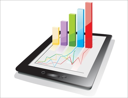 computer tablet showing a spreadsheet with some 3d charts over it Stock Vector - 17207248
