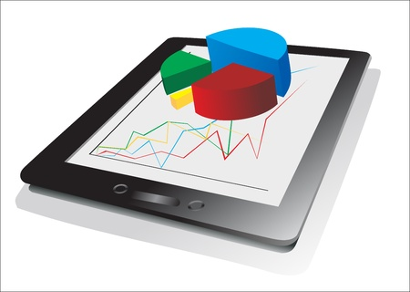 computer tablet showing a spreadsheet with some 3d charts over it Stock Vector - 17207237