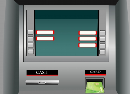 cash dispenser: Inserting credit card into bank machine to withdraw money  Illustration