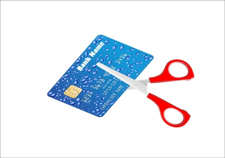 A pair of scissors cutting a credit card in half over a white background Stock Vector - 17207365