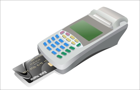 readers: Credit card and card reader on white background Illustration