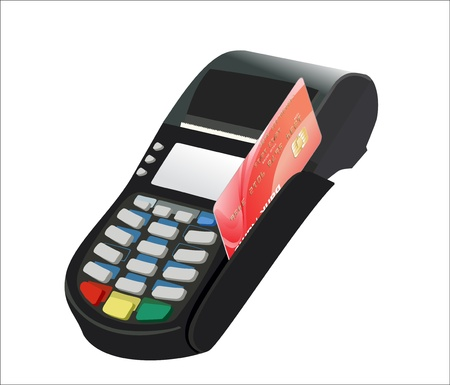 cashless: Credit card and card reader on white background Illustration
