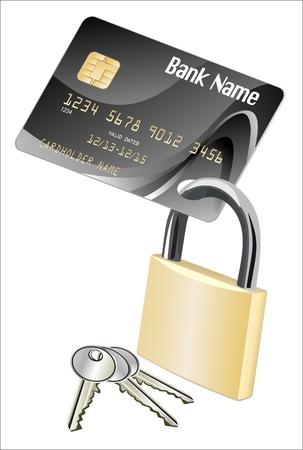 Credit card and Padlock Stock Vector - 17207333
