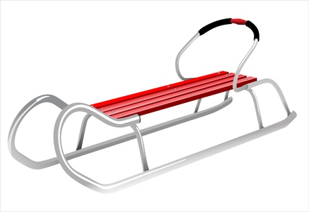 freigestellt: Red sled isolated in front of white background